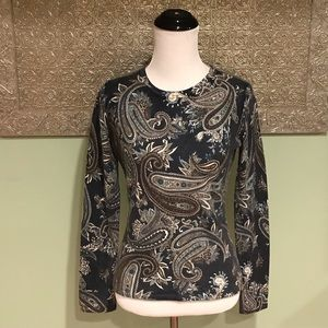 Neumann Marcus Cashmere Collection Paisley Sweater